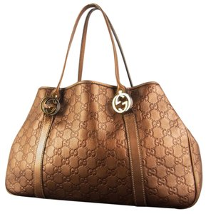 Gucci Leather Brown Gg Twins Shoulder Bag