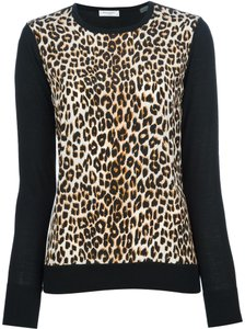 Equipment Leopard Merino Wool Silk Workwear Sweater