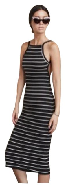 Item - Black with White Stripes Carson Mid-length Night Out Dress Size 4 (S)