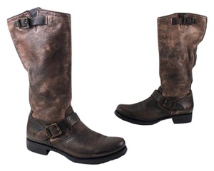 Frye Slouch Leather Distressed Bronze Boots