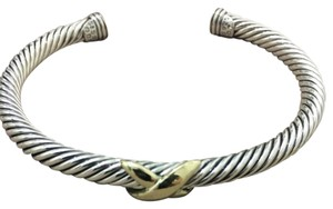 David Yurman 5mm x bracelet with 14k gold