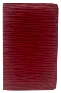 Louis Vuitton red epi leather bifold card case pass case holder