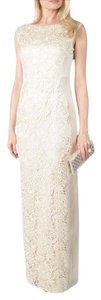 Adrianna Papell Lace Column Cap Sleeve Gown Dress