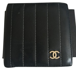 Chanel Auth. Lambskin Black Silver Stripe Bifold Wallet With Coin Pocket.