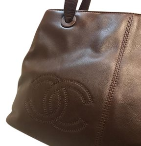 Chanel Leather Logo Tote in dark brown