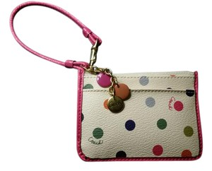 Coach Leather Genuine Wallet Easily Portable Wristlet in Cream and Pink with Polka Dots
