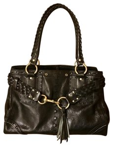 Coach Pebbled Leather Tassel Braided Satchel in black