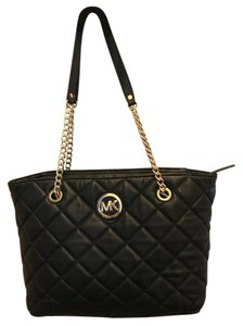 Michael Kors Quilted Leather Mk Tote in Black