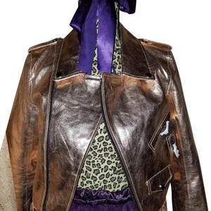 Zara Leather Metallic Leather Leather Jacket