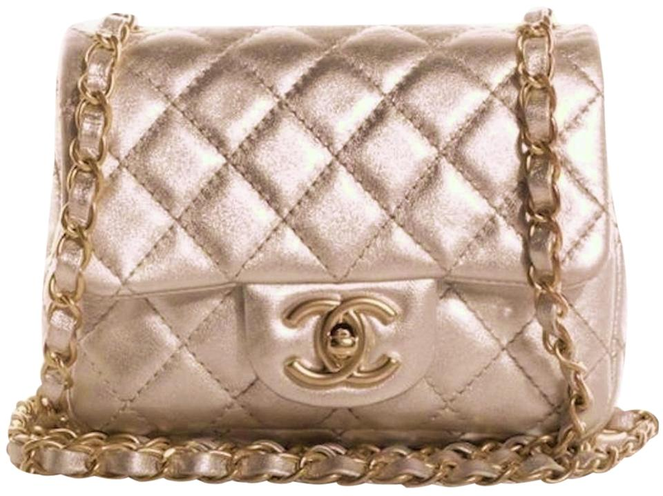 c569bdf5a85214 Chanel Classic Mini Flap Quilted Cc Logo Cross Body Metallic Champagne Gold  Silver Lambskin Leather Shoulder Bag