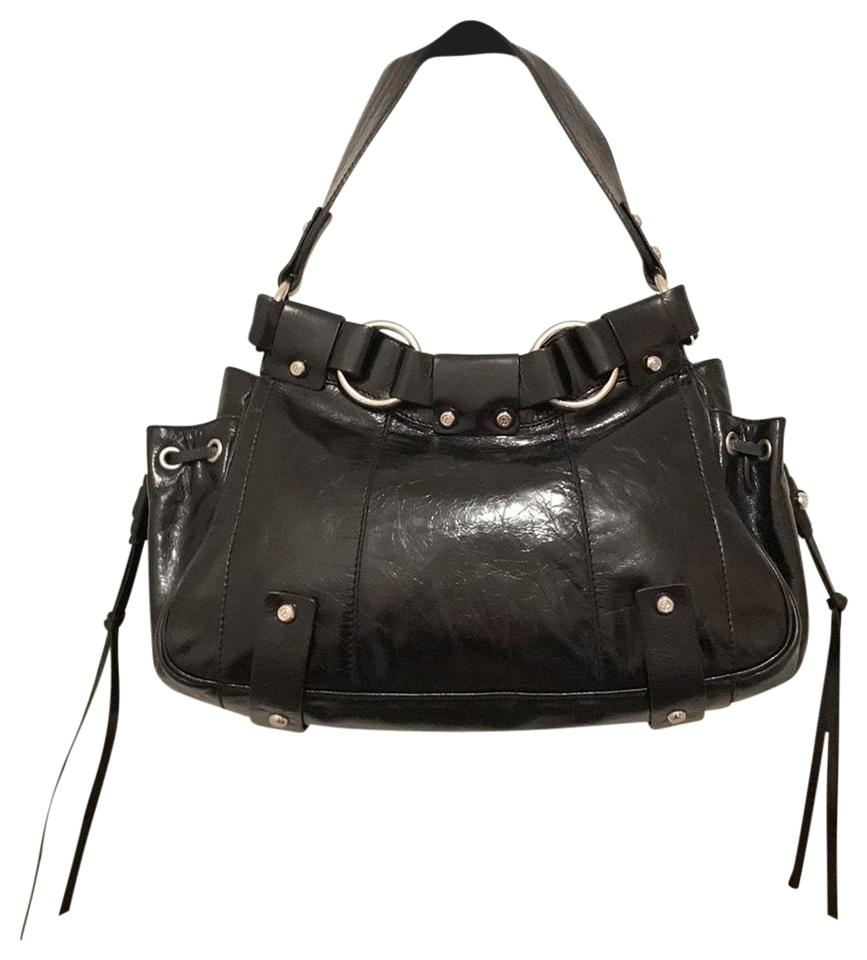 Francesco Biasia Shiny Distressed Black Silver Leather Shoulder Bag ... 06f3acb775b4c