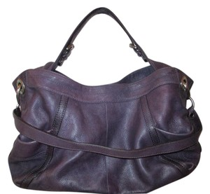 B. Makowsky Leather Grape Plum Pewter Hardware Tote in Plum Grape