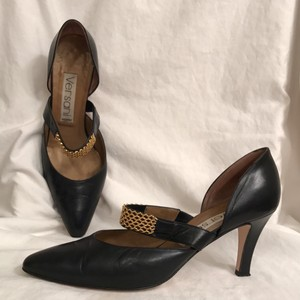 Versani Leather Dancing Formal Wedding Night Out Black Gold Pumps