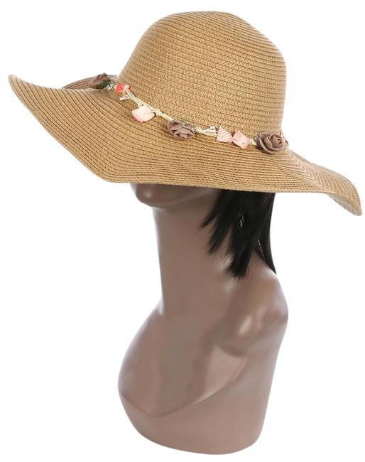 Item - Brown New Dressy Striped Straw Floppy with Seashell Brim Hat