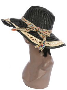 Sun Hat New Dressy Striped straw floppy sun hat with Burlap Ribbon Sun Hat