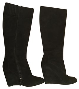 Via Spiga Suede Tall Excellent Condition Wedge Black Boots