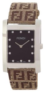 Fendi New Fendi Orologi Rectangular Diamond Dial Logo Strap Watch F708122D