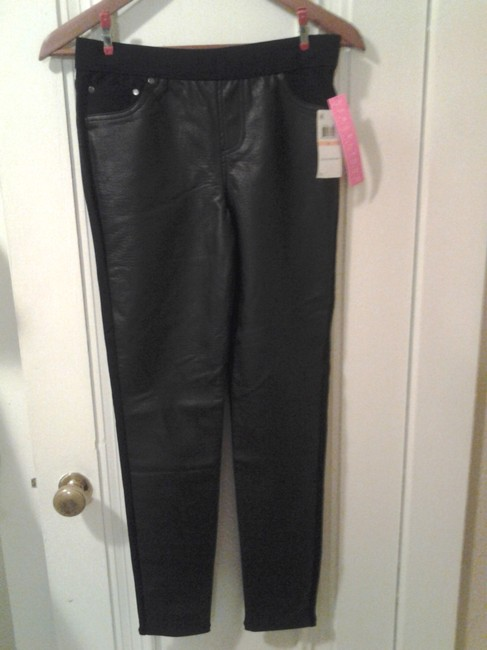 Tinseltown Xs Ponte Knit Macys Macy's Faux Leather Panel Patch Pockets Pants Tight Slim Skinny Faux Leather Pleather Vegan Sale black Leggings