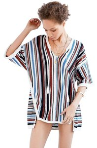 Urban Outfitters Cotton Blend Knit Striped Tunic Ecote Sweater