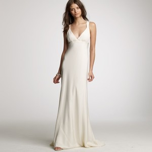 J.Crew Ivory Silk Tricotine Avery Gown In (Item 72169) Casual Wedding Dress Size 4 (S)