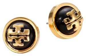 Tory Burch Tory Burch 11145528 Melodie Logo Black Shiny Brass Stud Earrings