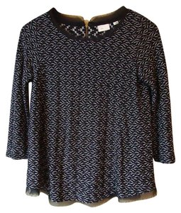 Anthropologie Black Postmark 3/4 Sleeves Top