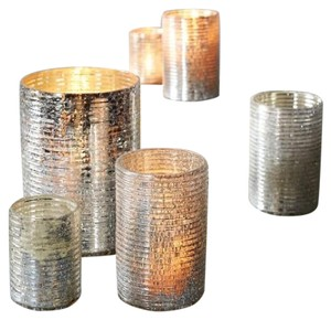 West Elm Mercury Glass Crackle Ribbed Hurricanes
