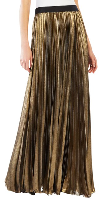 Item - Gold Metalic Dallin Pleated Skirt Size 6 (S, 28)