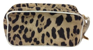 Dolce&Gabbana Animal print canvas zip top cosmetic pochette with white leather trim