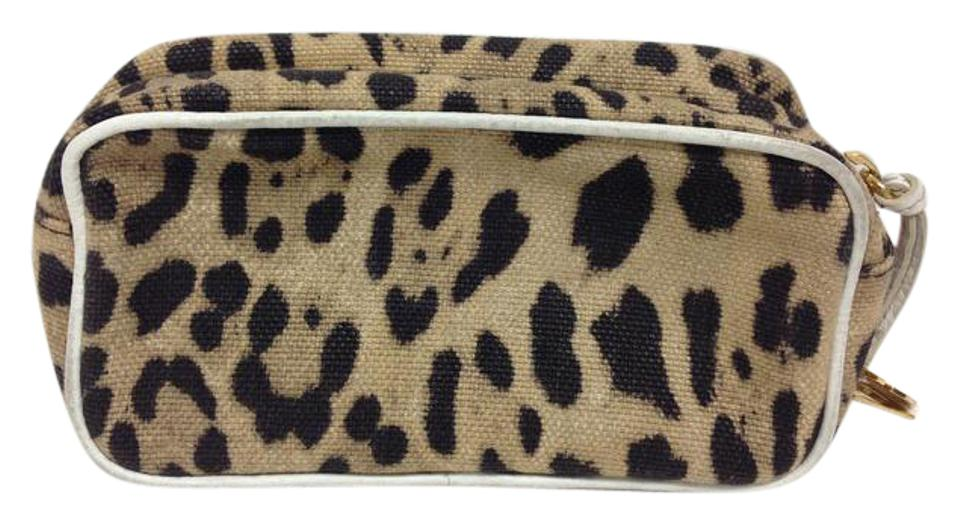 3ffab9f3 Dolce&Gabbana Animal print canvas zip top cosmetic pochette with white  leather trim Image 0 ...
