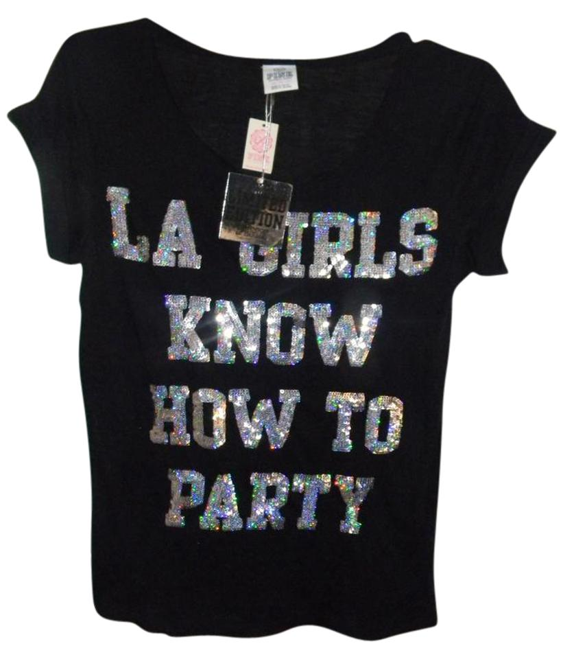 c6bc845bc0f99 Victoria's Secret Black Bulk .limited Edition Pink Silver Sequin La Girls  Tee Shirt Size 2 (XS) 1% off retail