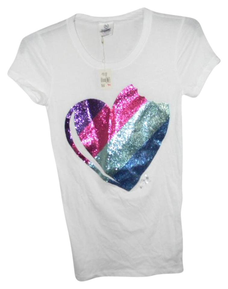 f25f82996d866 Victoria's Secret White Multi Color Glitter Piece Of My Heart Graphic Tees  Tee Shirt Size 2 (XS) 54% off retail