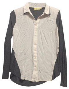 Vera Wang Button Down Shirt gray/ivory