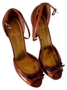 Linea Paolo Peep Toe Patent Bronze Bow Ankle Strap brown-spice Pumps