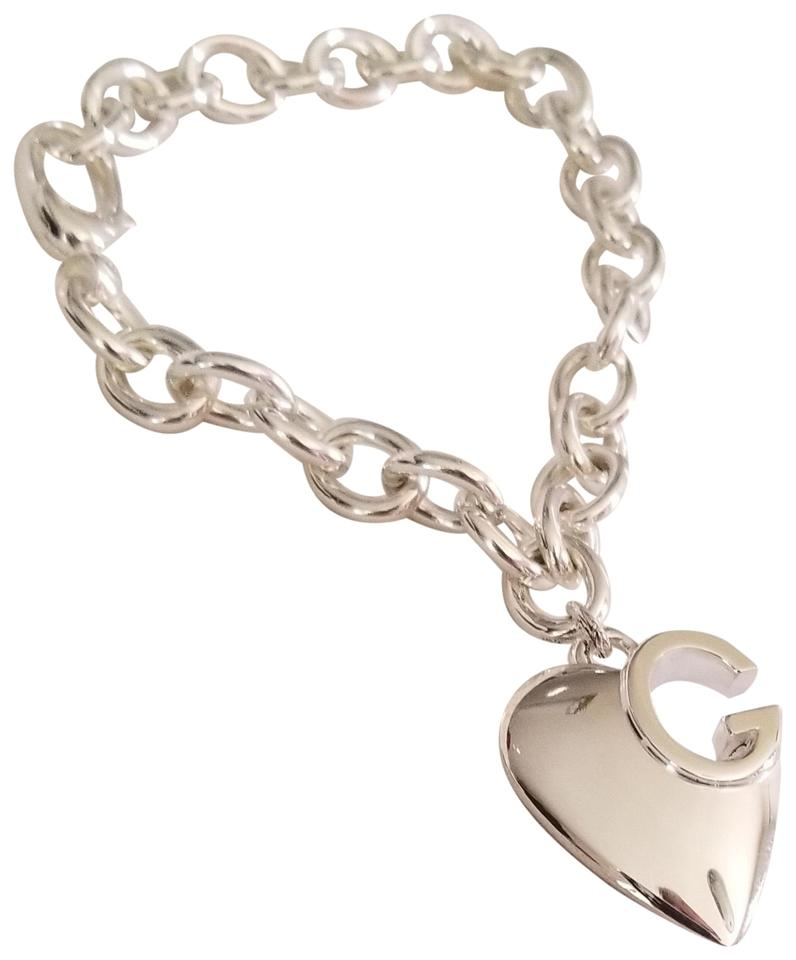 a9dd2a43f Gucci Made in Italy Sterling Silver Lucky Charms G Heart Bracelet Image 0  ...