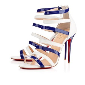 Christian Louboutin white and blue Pumps