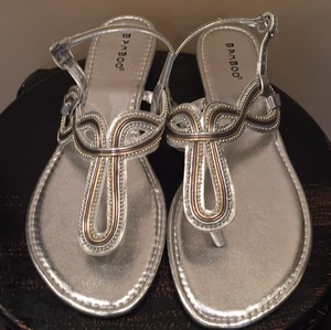 Bamboo silver, metallic Sandals