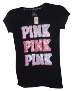 01a8148ce2ee4 Victoria's Secret Black Glitter Love Love Pink Graphics Tees Tee Shirt Size  6 (S) 42% off retail