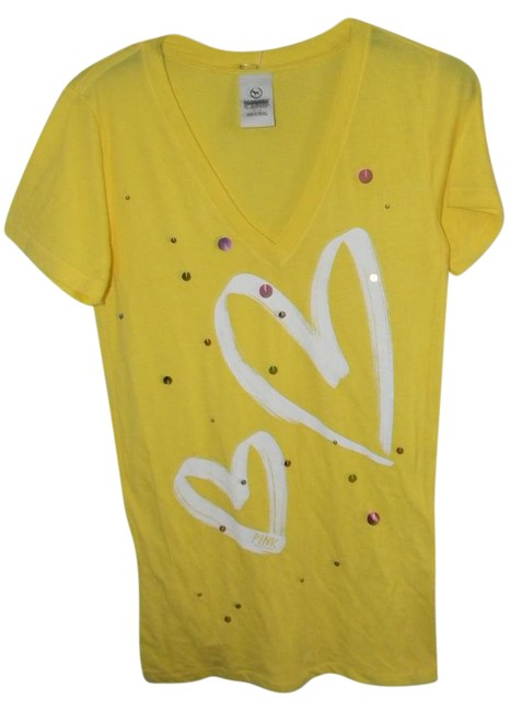 Item - Yellow Sequin Pallets Decor V- Neck Tees Tee Shirt Size 10 (M)