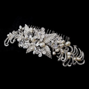 Elegance By Carbonneau Silver Clear And Freshwater Pearl Hair Comb 913