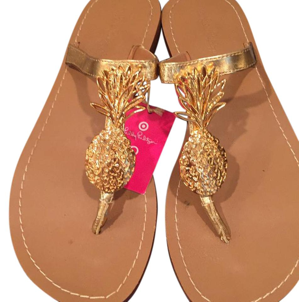 dea82ab6e56d Lilly Pulitzer for Target Gold Pineapple Sandals Size US 9 Regular ...