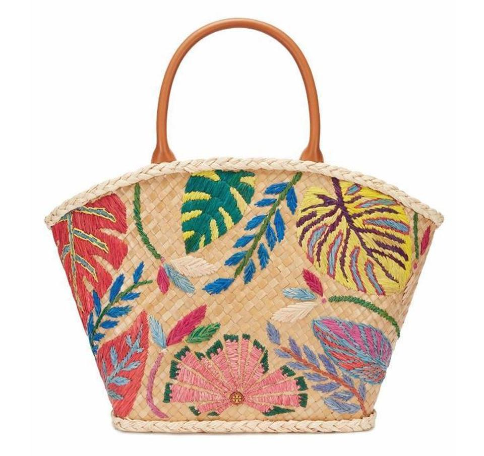 Tory Burch Straw Summer Embroidered Natural Beach Bag