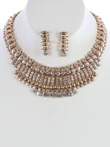 Other NEW BIB RHINESTONE CHOKER NECKLACE AND EARRINGS EVENING SET
