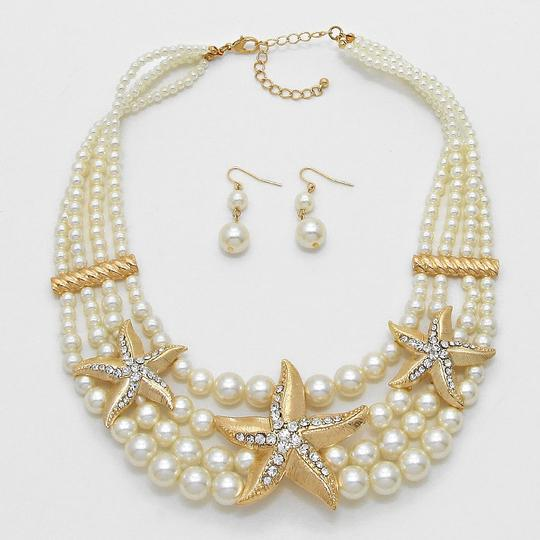 Other Crystal Accent Starfish Pearl Cluster Necklace And Earrings