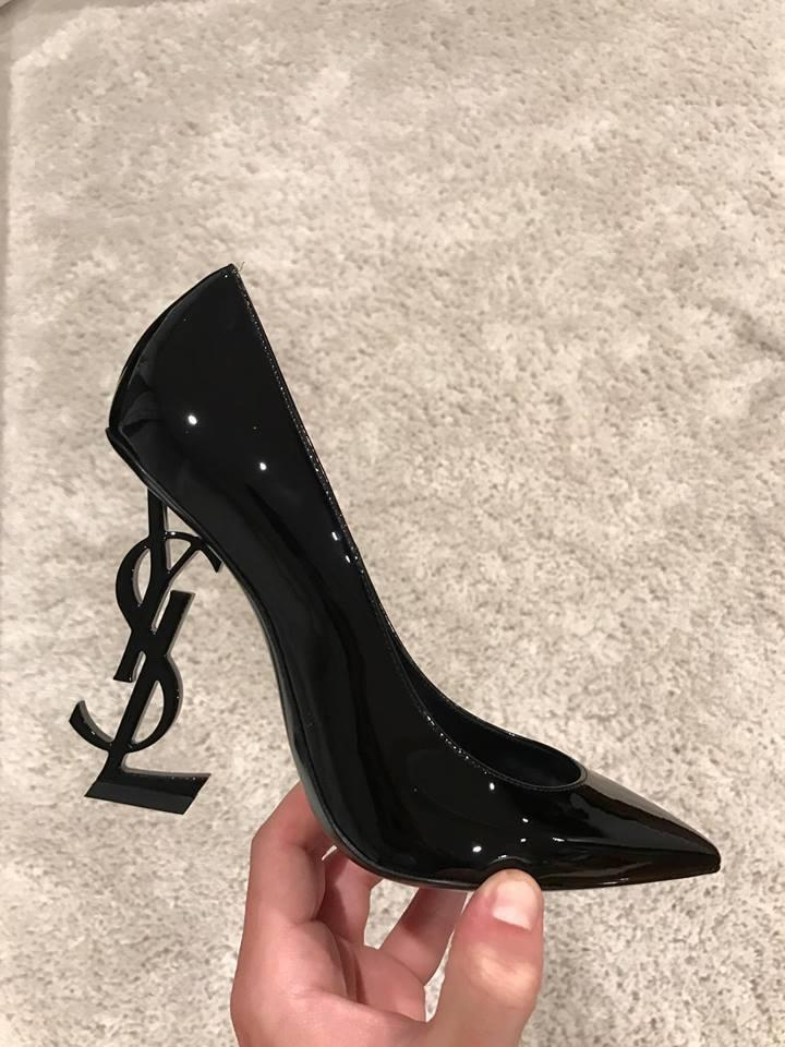 6c18032f79 Saint Laurent Black Yves Ysl Opyum Opium 110 Patent Leather Heel 36 ...