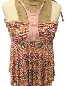 Free People Top ivory pink orange purple