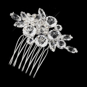 Elegance By Carbonneau Silver Clear Crystal And Rhinestone Flower Accenting Comb 922