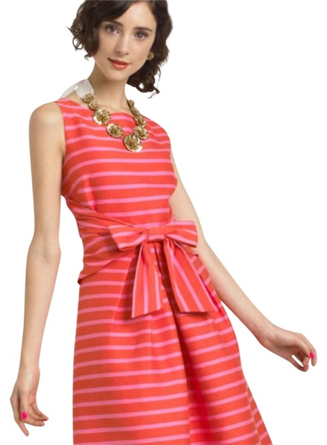 Item - Pink & Orange Bow-waste Mid-length Cocktail Dress Size 2 (XS)