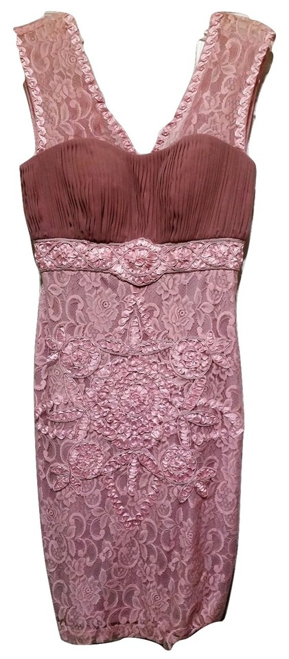 65a70467241 Sue Wong Pink Blush Embroidered Lace Sheath Short Cocktail Dress ...