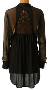 Anthropologie Lace Back Top NWT Black